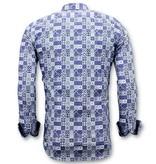 TONY BACKER Luxe Trendy Overhemden Heren -  Digitale Print - 3055 - Blauw