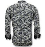 TONY BACKER Luxe Design Overhemden Heren -  Digitale Print - 3043 - Blauw