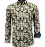 TONY BACKER Luxe Heren Overhemden met Digitale Print - 3053 - Geel