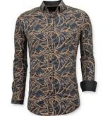 TONY BACKER Luxe Stijlvolle Heren Overhemd Online - Digitale Print - 3054 - Zwart