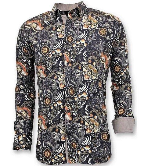 TONY BACKER Luxe Aparte Heren Overhemden - Digitale Print - 3050 - Zwart