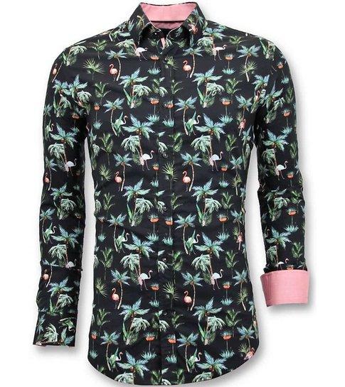 TONY BACKER Luxe Casual  Heren Overhemden - Digitale Bloemen Print - 3056 - Zwart