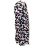 TONY BACKER Luxe Heren Slim Fit Overhemd -  Digitale Bloemen Print - 3052 - Wit