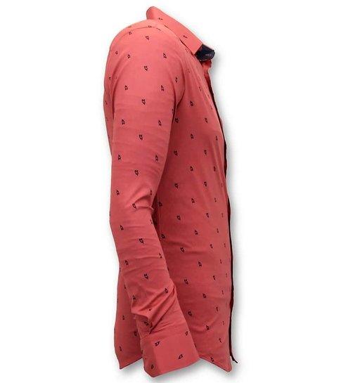 TONY BACKER Exclusieve Italiaanse Heren Blouse -  Slim Fit - 3046 - Rood