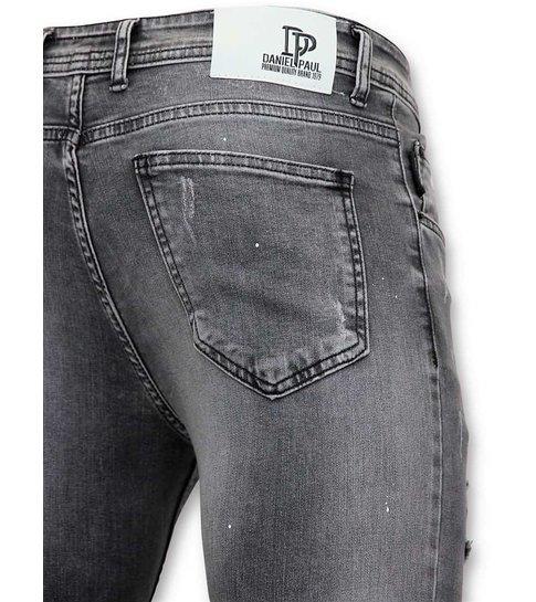 TRUE RISE Versleten Jeans Heren - Spijkerbroek Mannen - A13C - Grijs