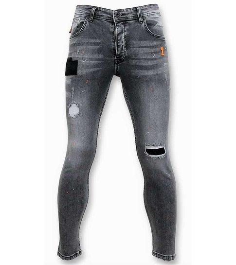 TRUE RISE Stijlvolle Jeans Voor Mannen - Skinny Fit Broek Heren - A13B - Grijs