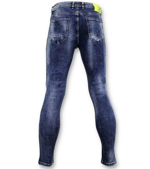 TRUE RISE Spijkerbroek met Verfspatten - Skinny Fit Jeans - A35A - Blauw