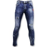 TRUE RISE Skinny Jeans Heren  - Paint Drops Broek - A35C - Blauw