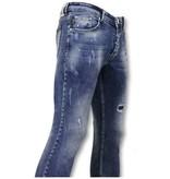 TRUE RISE Broek met Vlekken - Skinny Jeans Mannen - A35D - Blauw