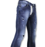 TRUE RISE Exclusive Paint Drops Broek - Skinny Fit  Jeans Mannen - A18A - Blauw