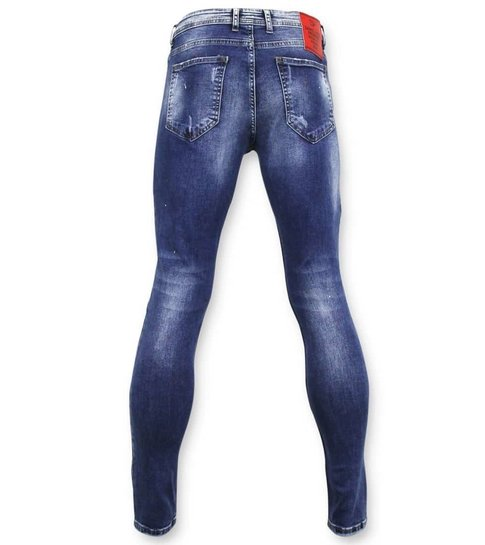TRUE RISE Exclusieve Ripped Jeans - Skinny Fit - A18C - Blauw