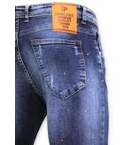 TRUE RISE Stoere Jeans met Paint Drops - Skinny Fit  Mannen - A18D - Blauw