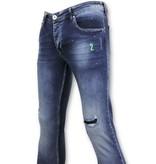 TRUE RISE Gescheurde Broek met Paint Drops - Skinny Jeans Heren  - A18E - Blauw