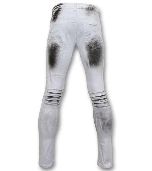 TRUE RISE Fit Damaged Biker Jeans - Slim Fit Heren Broek - 3025-1 - Wit