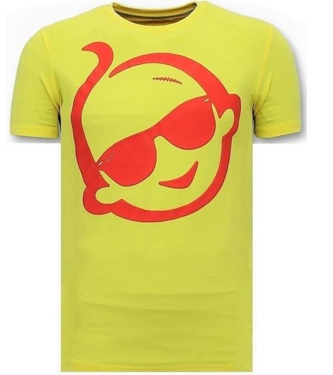 Local Fanatic T-shirt Heren Met Print - Zwitsal Met Sunglass - Geel