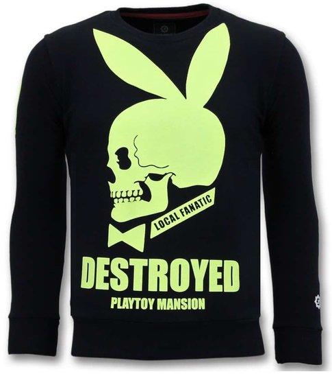 Local Fanatic Luxe Sweater Mannen - Destroyed Playtoy - Navy /Zwart