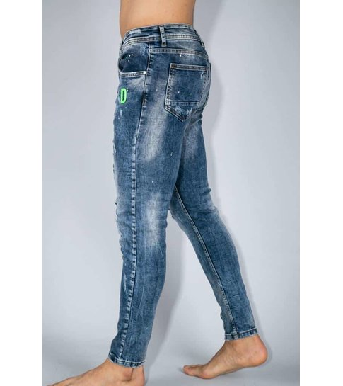 TRUE RISE Exclusive Paint Drops Jeans - Skinny Jeans Heren - A35E - Blauw