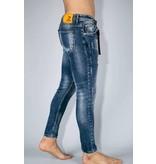 TRUE RISE Spijkerbroek met Verfspatten - Paint Drops Jeans - A35B - Blauw
