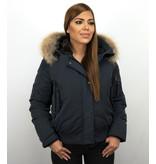 Gentile Bellini Korte Dames Winterjas  – Met Bontkraag  – Blauw