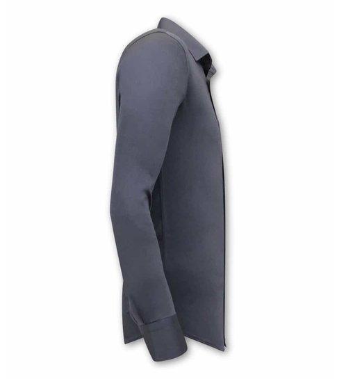 TONY BACKER Luxe Speciale Blanco Heren Overhemden  - Slim Fit - 3080 - Grijs
