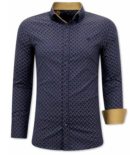TONY BACKER Luxe italiaanse Overhemden - Slim Fit Blouse - 3076 - Navy