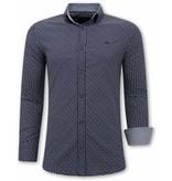 TONY BACKER Heren Overhemden Italiaans - Slim Fit Blouse - 3077 - Navy