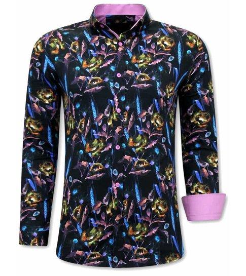 TONY BACKER Luxe Kleurrijke Overhemden Heren - 3070 - Roze / Zwart