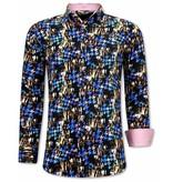 TONY BACKER Luxe Gekleurde Heren Overhemden- 3068 - Roze /Zwart