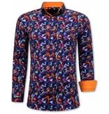 TONY BACKER Luxe Heren Slim Fit Overhemden - 3071 - Oranje/Paars