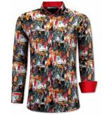TONY BACKER Luxe Italiaanse Heren Overhemden - 3064 - Oranje/Rood