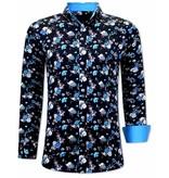 TONY BACKER Exclusieve Heren Overhemden Online - 3066 - Blauw/Zwart