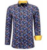 TONY BACKER Luxe Kleurrijke Heren Blouse - 3072 - Geel / Blauw