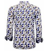 TONY BACKER Luxe  Heren Overhemden met Gitaar Print - 3069 - Wit/Blauw