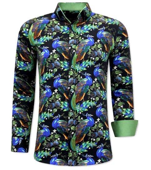 TONY BACKER Luxe Strijkvrije Heren Overhemden - 3065 - Groen/Zwart