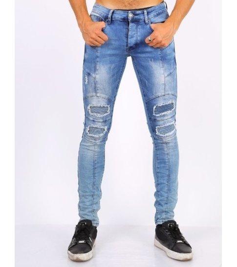 TRUE RISE Skinny biker jeans heren - Stoere jeans mannen - ZS1058 - Blauw