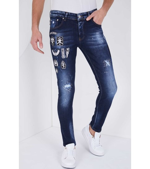 TRUE RISE Heren Spijkerbroek met Applicaties - Slim Fit - 5201E - Blauw