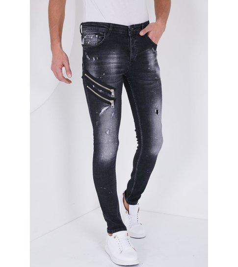 TRUE RISE Heren Spijkerbroek met Verfspatten - Slim Fit - 5501A - Zwart