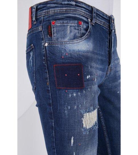 TRUE RISE Luxe Heren Jeans met Paint Drops  - Slim Fit - 5201C- Blauw