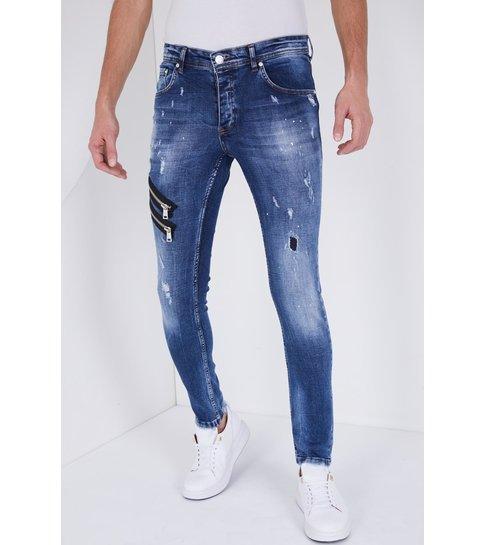 TRUE RISE Jeans Heren met Verfspatten - Slim Fit -5301B - Blauw