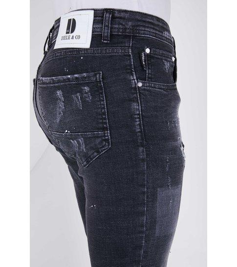TRUE RISE Stretch Jeans Heren met Verfspatten - Slim Fit - 5501D - Zwart
