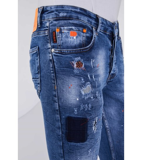 TRUE RISE Exclusive Paint Drops Jeans - Slim Fit - 5301A - Blauw