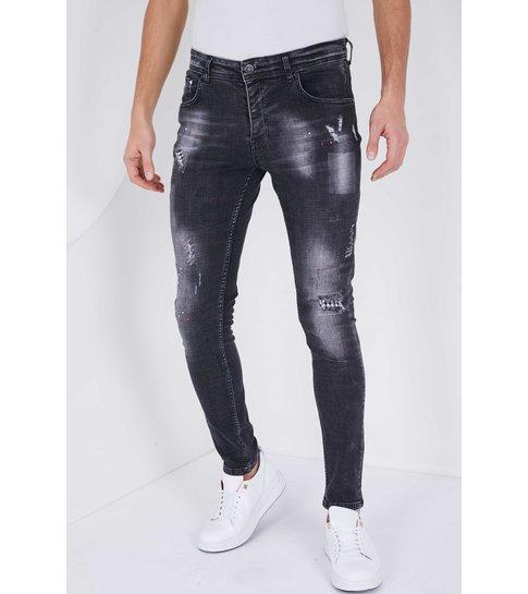 TRUE RISE Heren Jeans met Verfspatten - Slim Fit - 5501C - Zwart