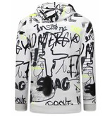 TONY BACKER Sweater met Capuchon Heren - Graffiti Hoodie - Wit