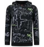 TONY BACKER Sweater met Capuchon Heren - Graffiti Hoodie - Zwart