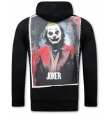 TONY BACKER Joker Print Heren Hoodie  - Zwart