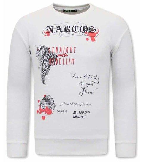 TONY BACKER Narcos Heren Sweater - Wit