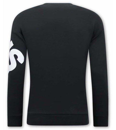 TONY BACKER Heren Sweater met Print - Zwart