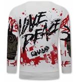 TONY BACKER Heren Graffiti Sweater - Wit