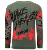 TONY BACKER Heren Graffiti Sweater - Groen