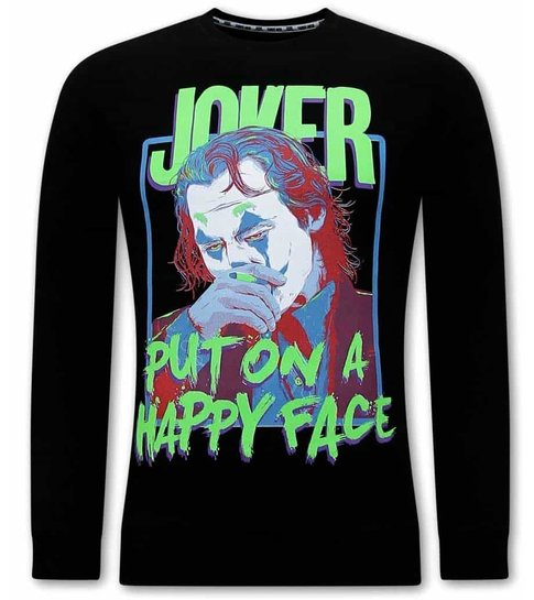 TONY BACKER Joker Print Heren Trui - Zwart